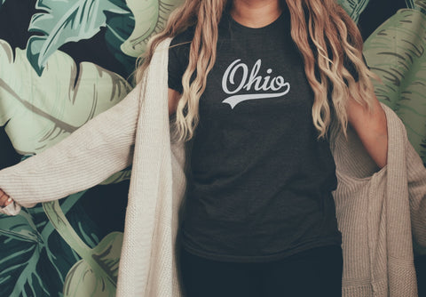 Cursive Ohio Heart Crop Fleece Pullover