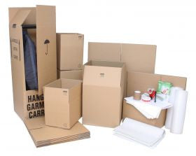 Large Moving Kit / Pack with Cardboard Moving Boxes, Wardrobe Boxes and Packing Accessories