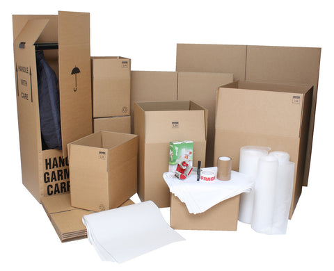 Super Size Moving Kit / Pack with Cardboard Wardrobe Boxes, Moving Boxes and Packing Accessories