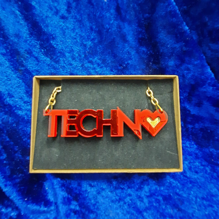 Techno in Red Small Necklace