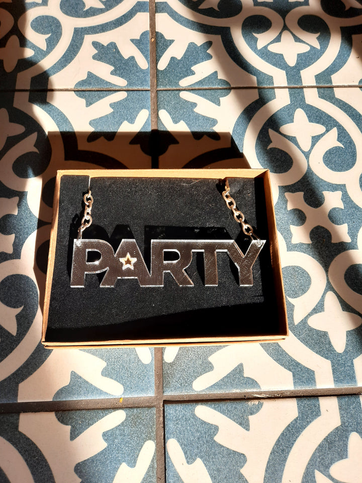 New Party Necklace Silver with Gold Star