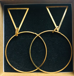Gold earrings with large circle and triangles
