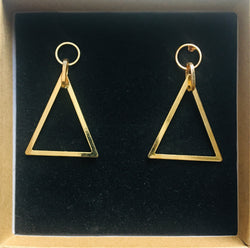 Gold medium triangle earrings