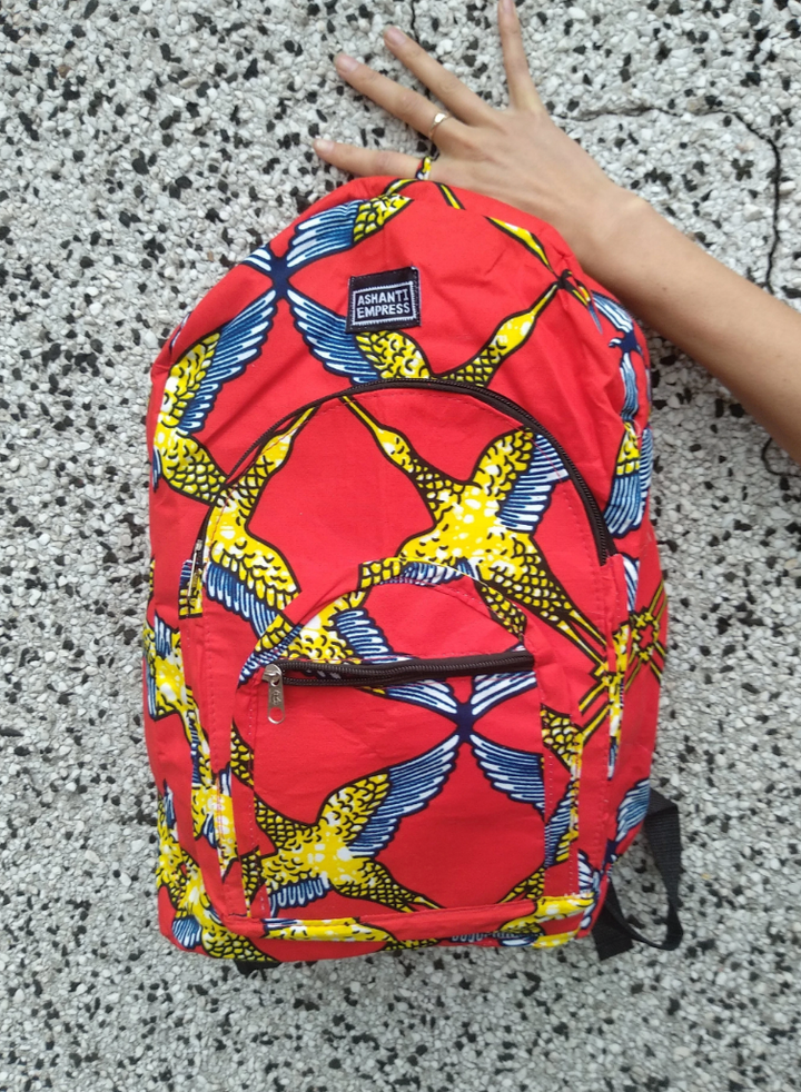 Red, Yellow and Blue Print Backpack