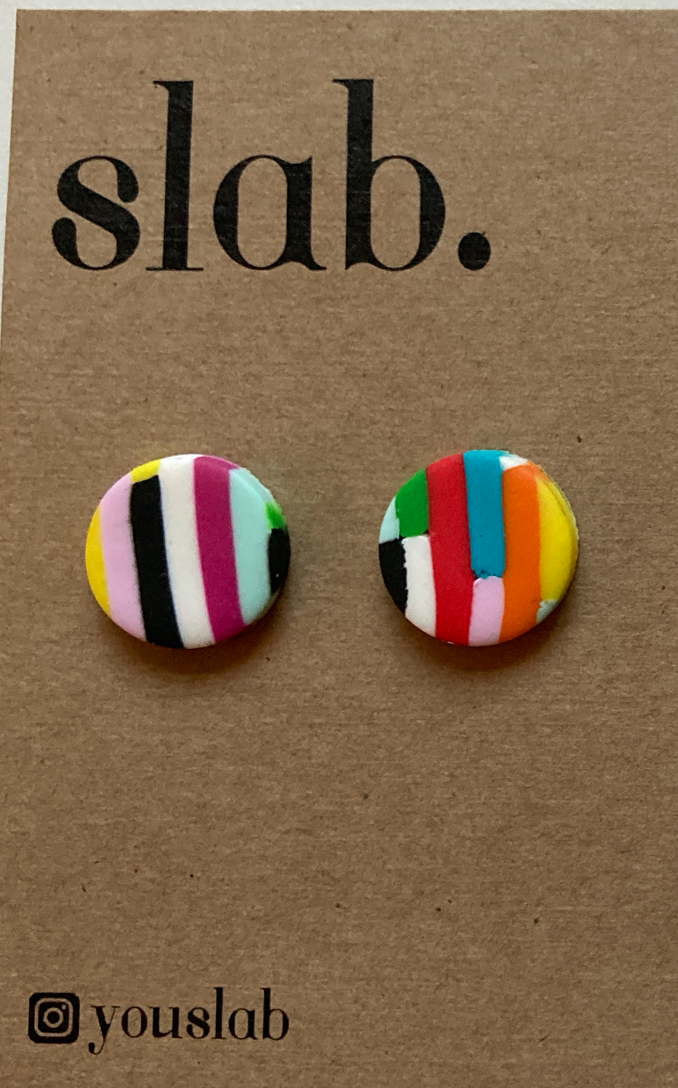 You Slab Colourful Circle Studs