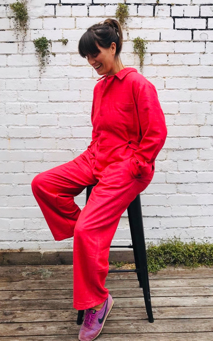 Pink Boilersuit Raw Cotton