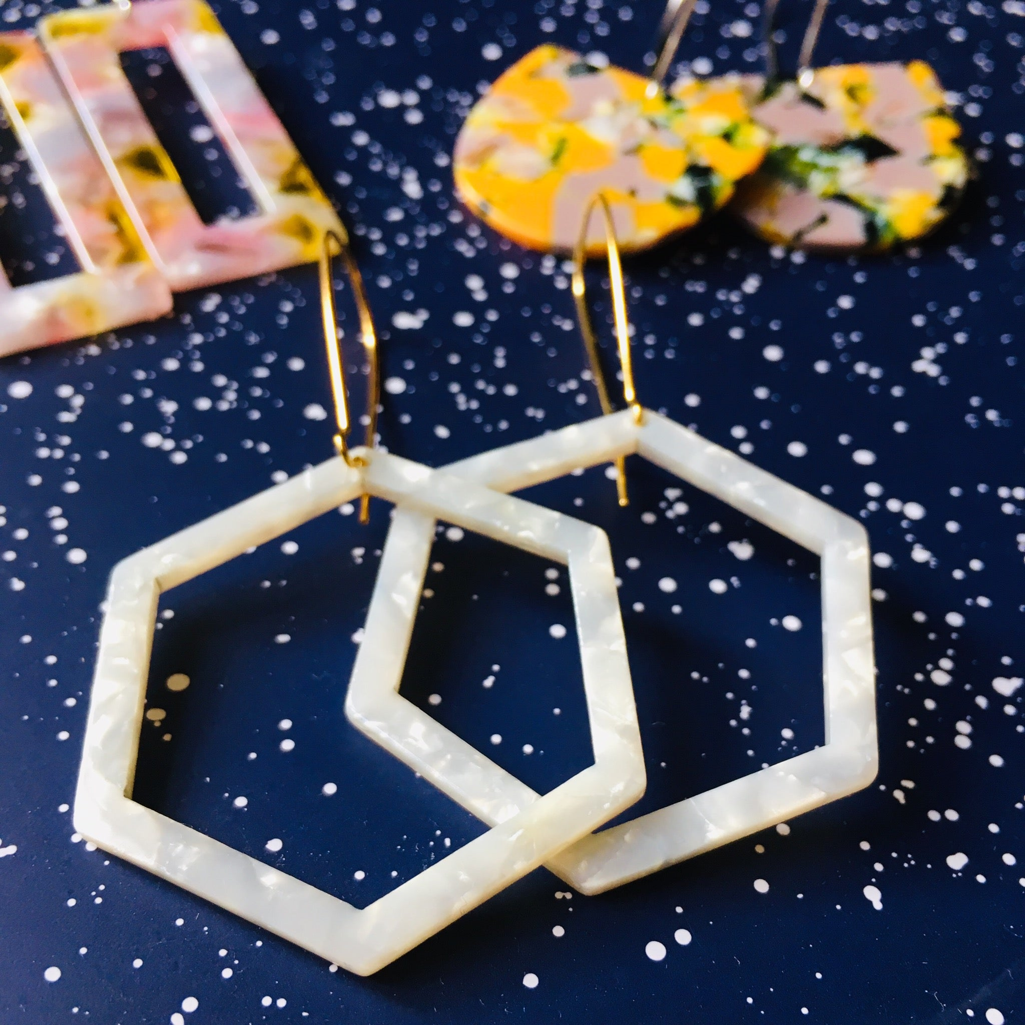 White Hexagon Acrylic Gold Hoop Earrings