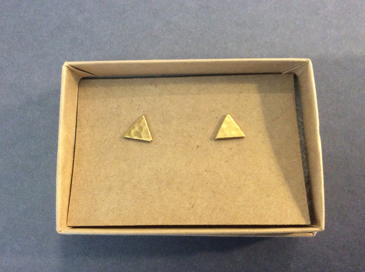 Gold Triangle Stud Earrings
