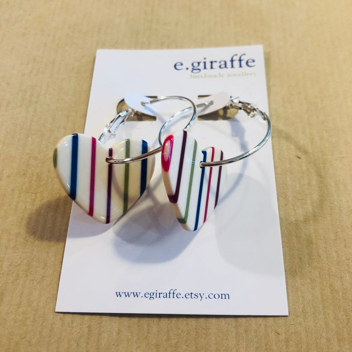 Striped Heart Hoop Earrings