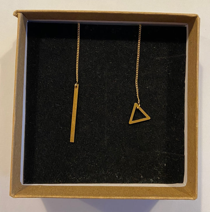 Gold Tone Mismatched Bar and Triangle Threader Earrings
