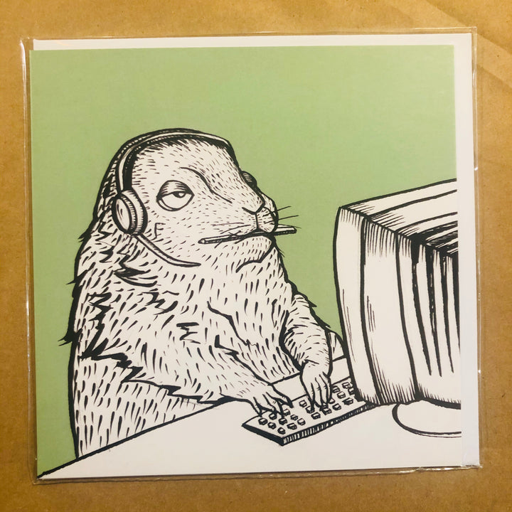 Gerbil on Computer Card