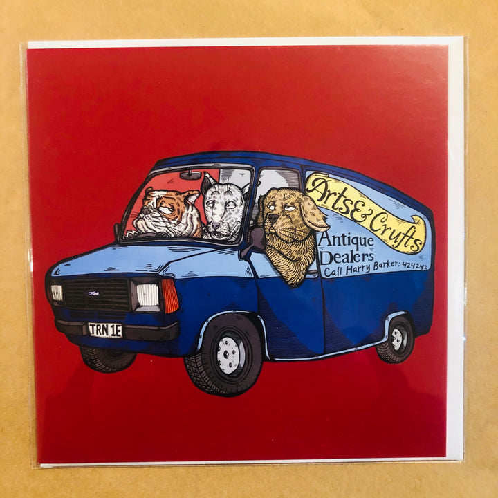 Dogs in Transit Van Card