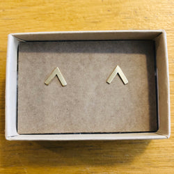 Gold Chevron Stud Earrings