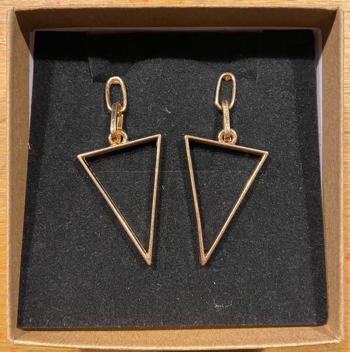 Gold Tone Triangle and Oval Earrings