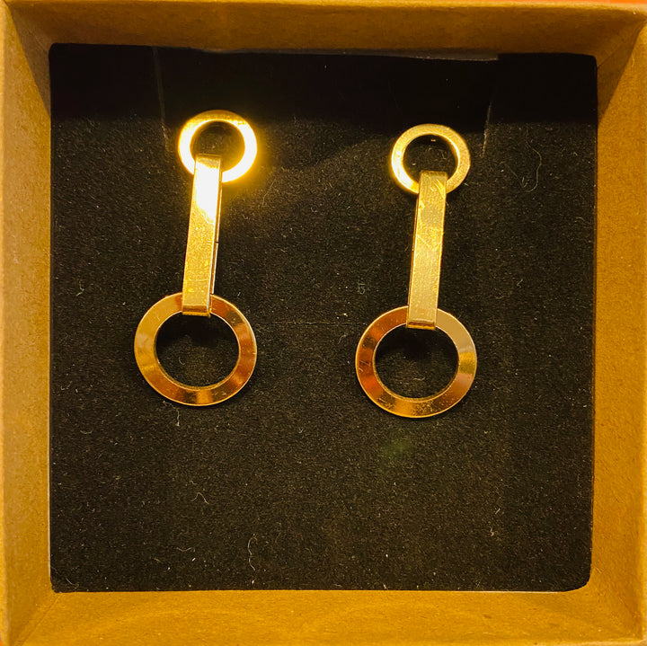 Gold Tone Double Circle and Bar Earrings