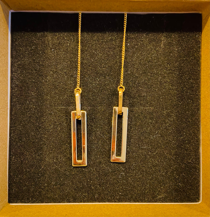 Gold Tone Long Rectangle Threader Earrings
