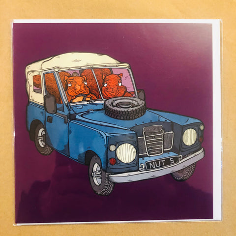 Squirrels in Landrover Card