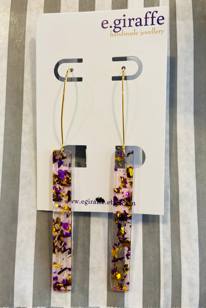 Long Purple and Gold Glittery Acrylic Bar Hoop Earrings