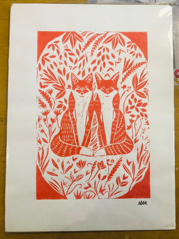 Foxes Handprinted Original Linocut Print