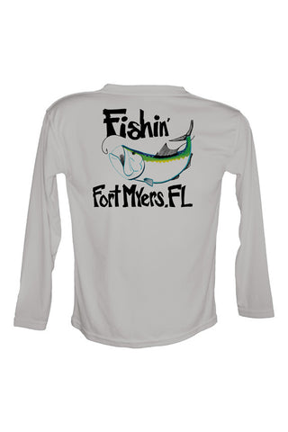 Youth UPF 50 Long sleeve sublimated Performance Shirt Fishn' Ft. Myers Tarpon