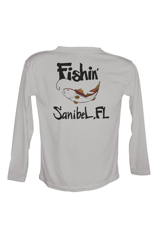 Youth UPF 50 Long sleeve sublimated Performance Shirt Fishn' Sanibel Redfish