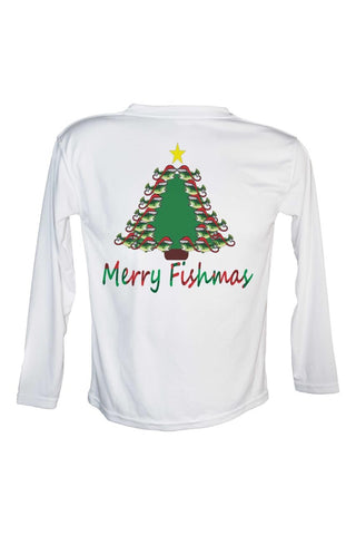 Bass Merry Fishmas Tree UPF 50 Long Sleeve Performance fishing shirt.