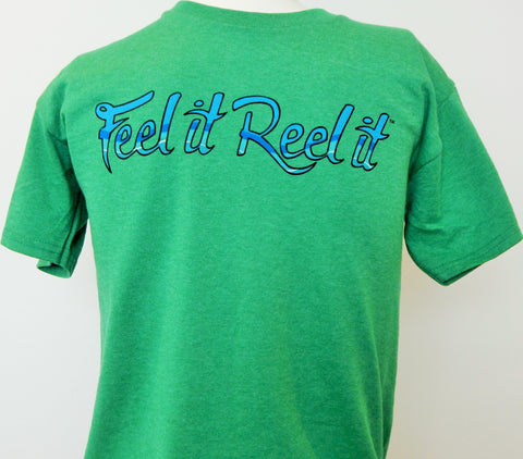 "Youth 100% cotton short sleeve t-shirt: ""Feel it Reel it"" printed  on chest"