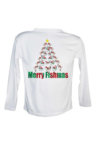 Merry Fishmas Tree UPF 50 Long Sleeve Performance fishing shirt.