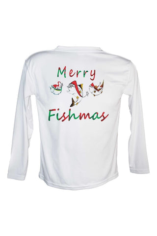 Youth Merry Fishmas Christmas UPF 50 Long Sleeve Performance fishing shirt.