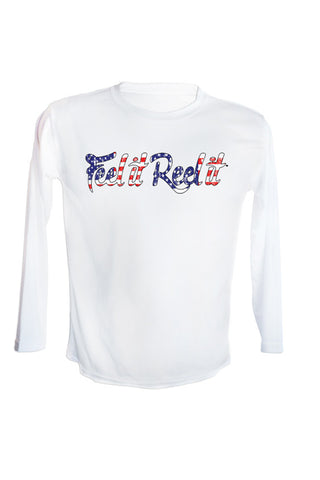 Youth Red White and Blue Signature Long Sleeve UPF 50 Performance Shirt.