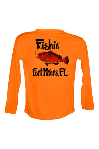 UPF 50 Long sleeve sublimated Performance Shirt Fishn' Ft. Myers Grouper