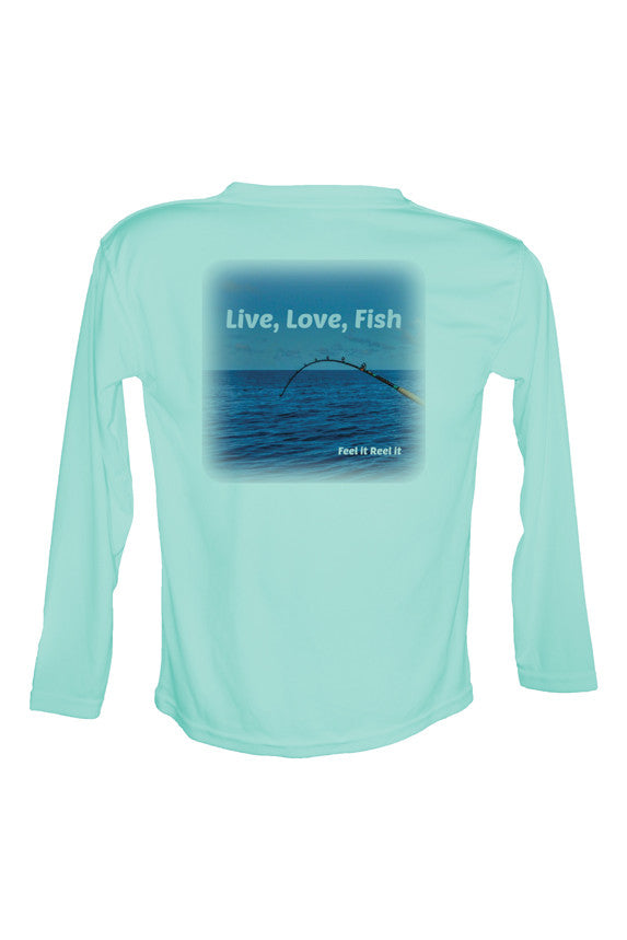 Live, Love, Fish Long Sleeve UPF50 Performance Fishing Shirt.