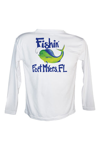 Youth UPF 50 Long sleeve sublimated Performance Shirt Fishn' Ft. Myers Mahi