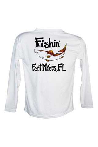 UPF 50 Long sleeve sublimated Performance Shirt Fishn' Ft. Myers Redfish