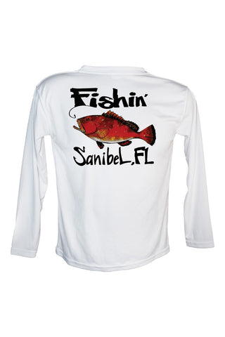 Youth UPF 50 Long sleeve sublimated Performance Shirt Fishn' Sanibel Grouper