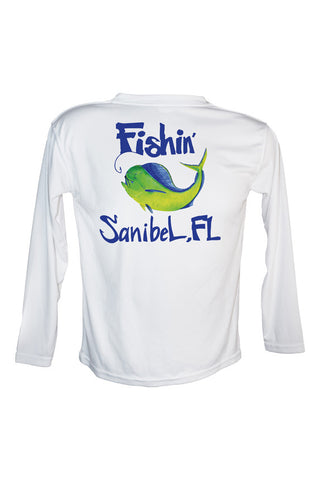 Youth UPF 50 Long sleeve sublimated Performance Shirt Fishn' Sanibel Mahi