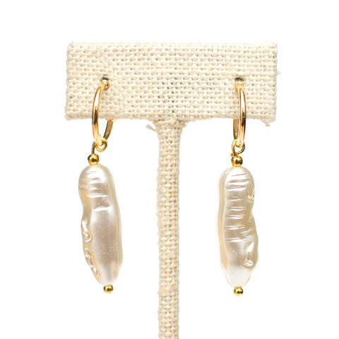 Biwa Pearl Huggie Hoop Earrings