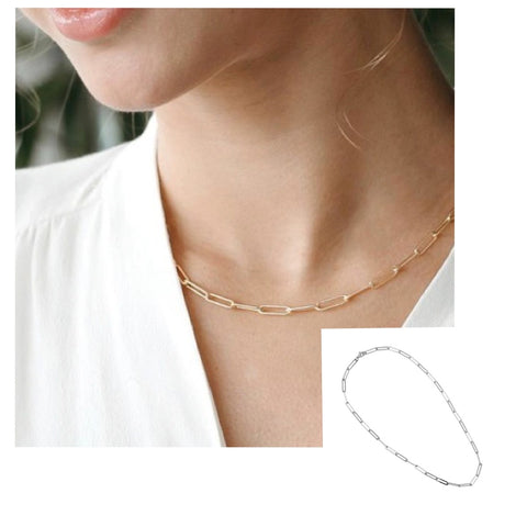 Dainty Rectangle Chain Gold & Silver