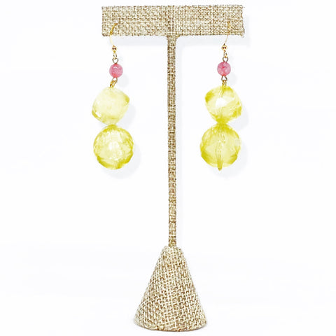 Yellow and Pink Bauble Earrings