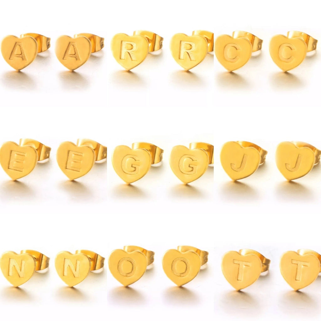 Honey Heart Initial Studs-Single Earring