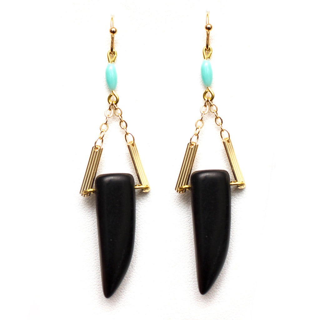 Black and Turquoise Horn Earrings
