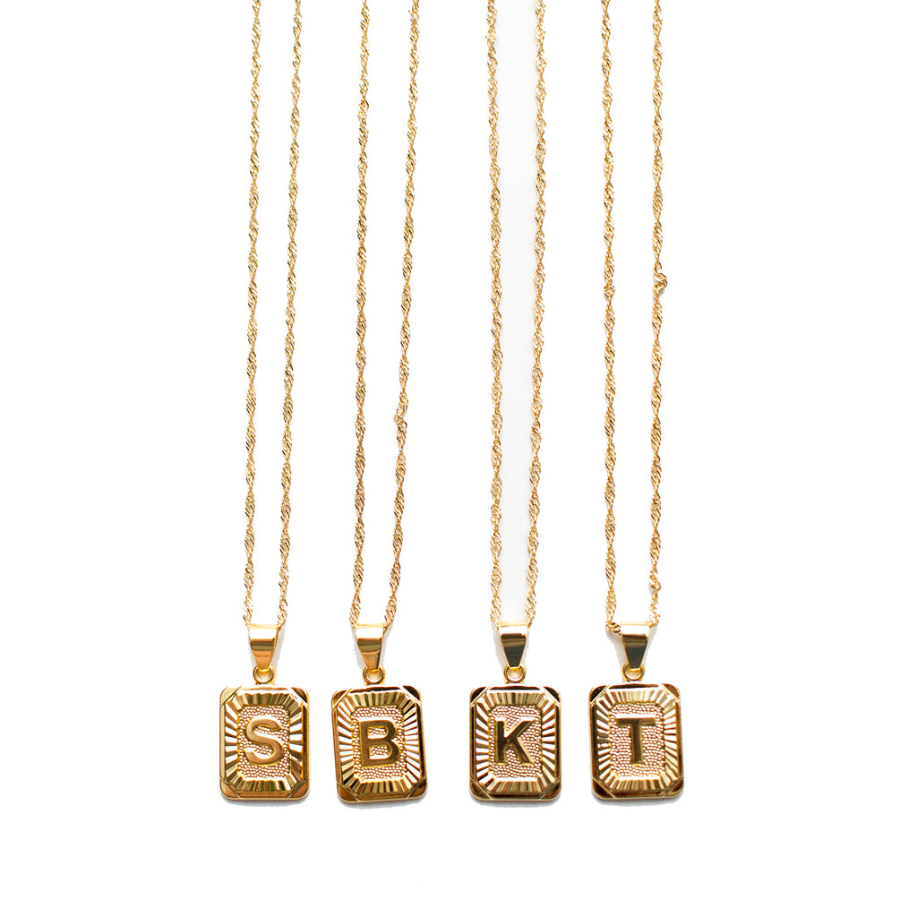 Initial Tag Necklaces BUY ONE GET ONE HALF OFF TODAY, Discount applied at checkout!