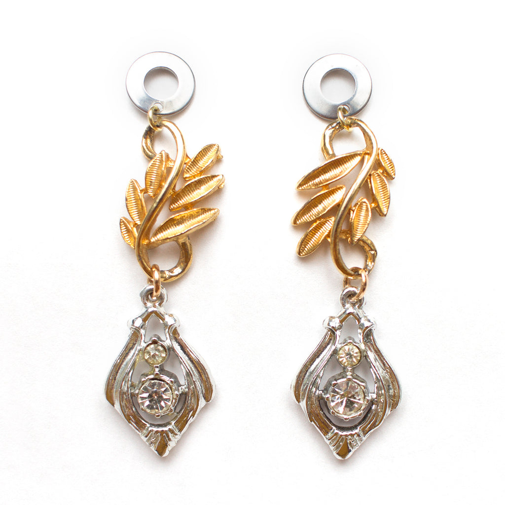 Golden Rhinestone Silver Earrings
