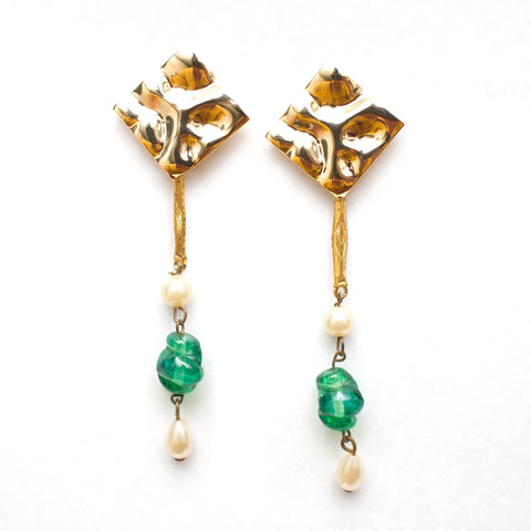 Green and Pearl Drop Earrings