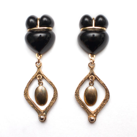 Black and Gold Victorian Earrings