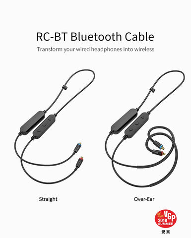 FiiO - RC-BT - HiFi Wireless Bluetooth Lightweight Headphone/Earphone Replacement MMCX Cable with aptX/AAC/SBC support and Mic (Ships iNext Day)