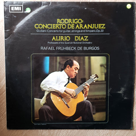 Rodrigo / Giuliani - Alirio Díaz, Professors Of The Spanish National Orchestra, Rafael Frühbeck De Burgos ‎– Concierto De Aranjuez - Concerto For Guitar, Strings And Timpani, Op. 30 -  Vinyl LP Record - Opened  - Very-Good+ Quality (VG+)