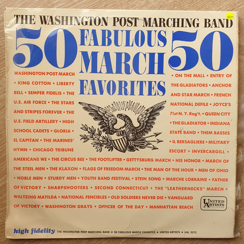 The Washington Post Marching Band ‎– 50 Fabulous March Favorites -  Vinyl LP Record - Very-Good+ Quality (VG+)
