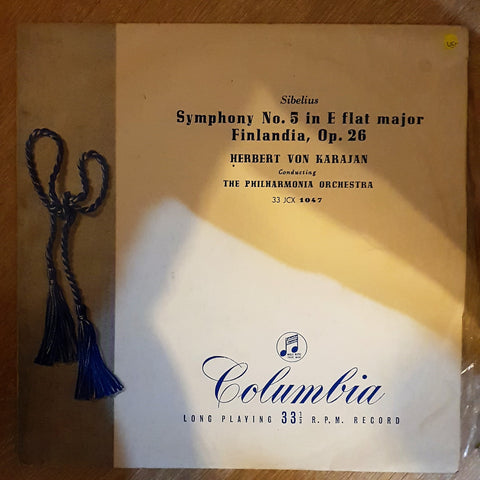 Sibelius - Herbert von Karajan, The Philharmonia Orchestra ‎– Symphony No. 5 In E Flat Major. Op. 82. / Finlandia Op. 26 -  Vinyl Record - Very-Good+ Quality (VG+)