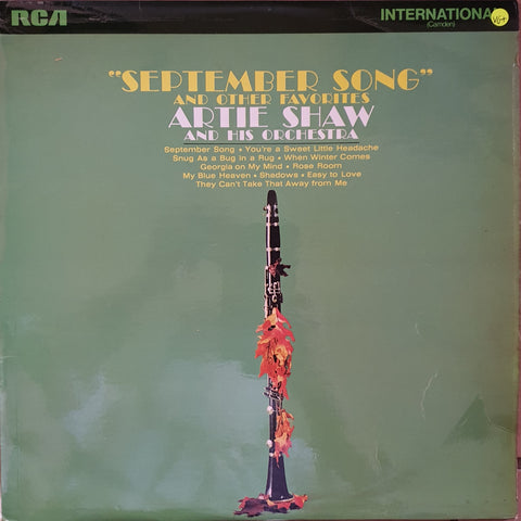 "Artie Shaw And His Orchestra ‎– ""September Song""  -  Vinyl LP Record - Very-Good+ Quality (VG+)"